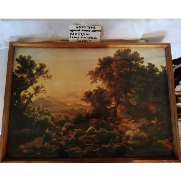 Nagyméretű papír kép, fa keretben